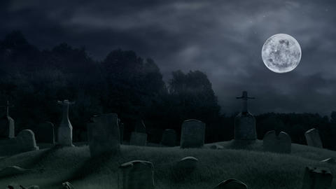 Scary old cemetery at midnight Animation