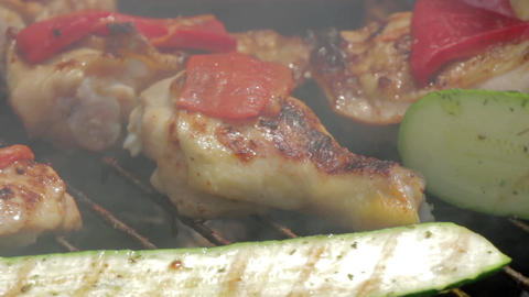 Barbecue Grill Chicken Closeup 5 stock footage