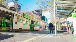 4k timelapse video of commuters in a busy tram sta Footage