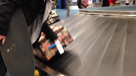 Macro Man Taking His Luggage Inside YVR Airport stock footage