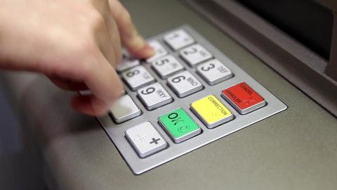 Woman pressing password at ATM machine Footage