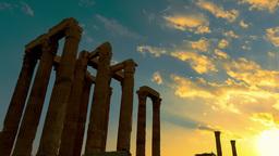 Olumpeion Sunset Timelapse Temple Of Zeus stock footage