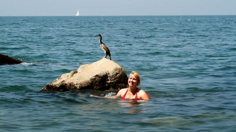 Woman swims in the sea and watching the birds on t Footage