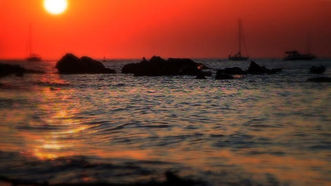 Red Sunset, slow motion 60fps Footage