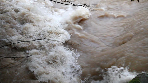 Wiew of the increased mudy water surface with some Footage
