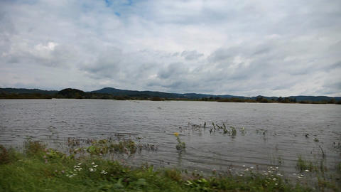 Slide Shot From The Car Representing Flooded Count stock footage