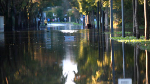 View of a flooded street in the city Footage