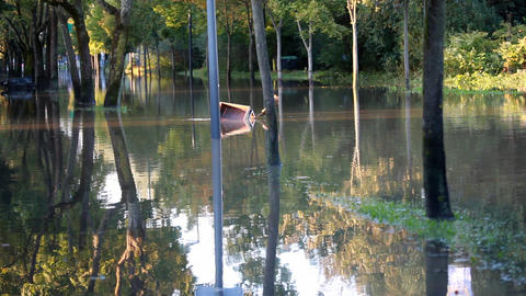 View of the flooded alley and nice reflection in t Footage