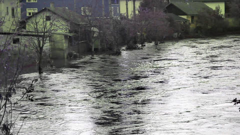 View of the flooded alley and houses in grey color Footage