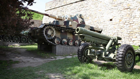 exhibition of old guns used in war Footage