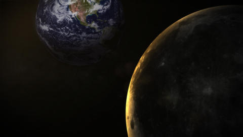 View of the moon, while traveling past the earth a Footage