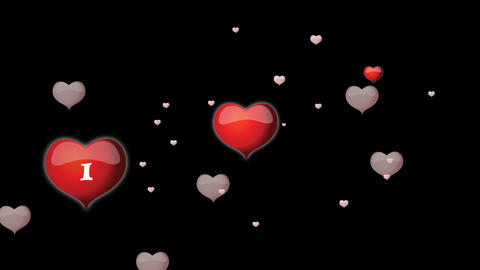 Red hearts with inscription I love you on black ba Footage