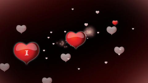Red hearts with inscription I love you animation f Footage
