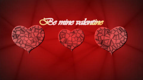 Red relief heart with inscription Be mine Valentin Footage