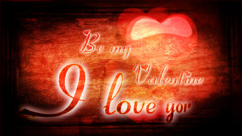 Animated romantic inscription I love you and heart Footage