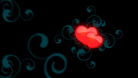 Animated Red Hearts On A Black Background stock footage