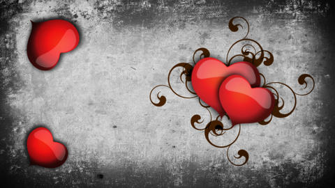 Animated hearts on a concrete wall background Footage