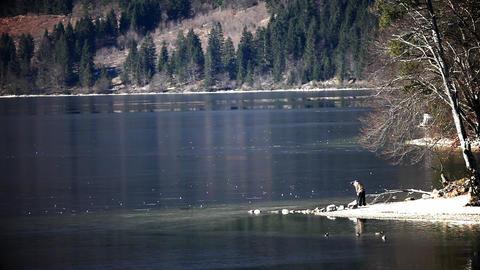 Still boy throwing stones on frozen Bohinj's lake Live Action