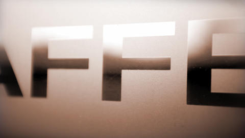 Close up of text 'Caffee' with camera movement ライブ動画