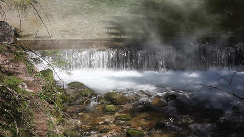 Still Shot Of A River Rapids With Morning Mist stock footage