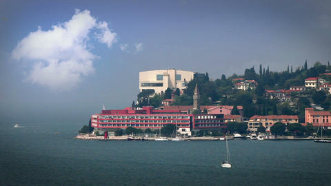 Hotel At The End Of The Isola Peninsula With Aded  stock footage