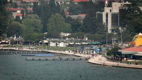 famous beach in Portorose with some piers and tour Footage