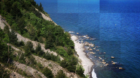 cliff near Piran with added mosaic effect, Live Action