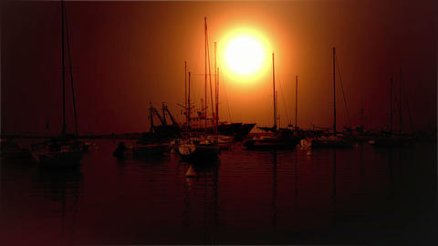 Sunset at seaside with moored boats Live Action