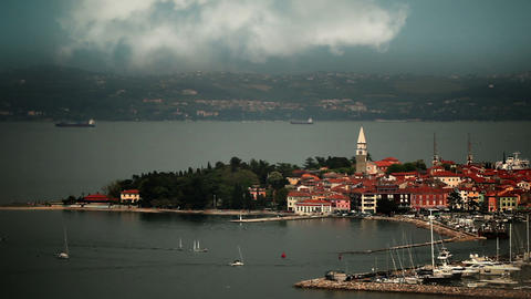 Isola's port on the cloudy day with some sailing b Footage