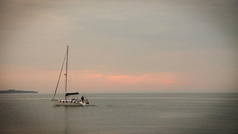 Panoramic sailing boat on the sea Live Action