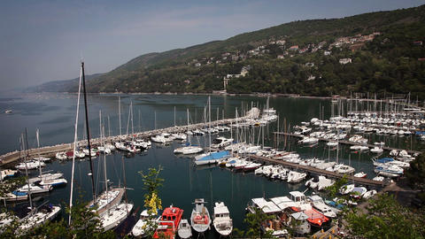 Panoramic full marina from the hill above Footage