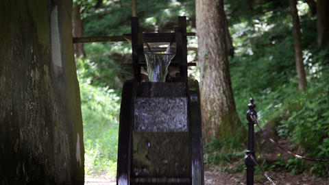 Close up of a watermill with a forest in behind Live Action