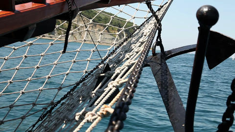 Close up shot of the sailing boat`s anchor Live Action