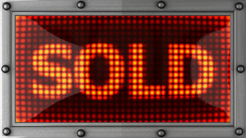 sold announcement on the LED display Stock Video Footage