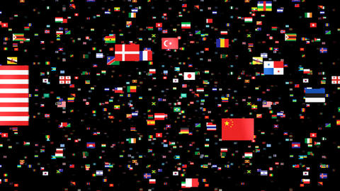 National Flags 4 KOR Korea Stock Video Footage