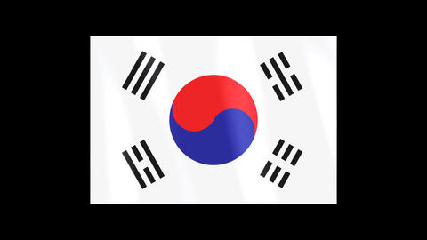 National Flags 4 KOR Korea Stock Video Footage