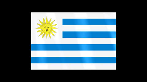 National Flags 4 URY Uruguay Stock Video Footage