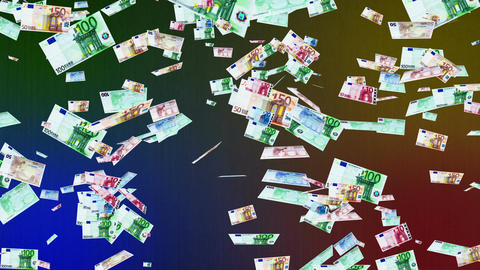 Euro Banknotes Falling 02 Stock Video Footage