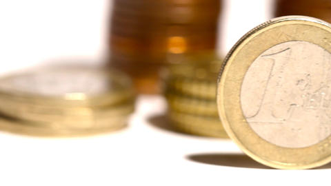 Euro Coins 02 Dolly Isolated on White Footage