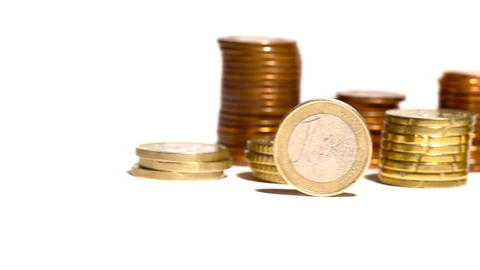 Euro Coins 04 Dolly Isolated on White Stock Video Footage