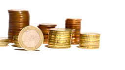 Euro Coins 04 Dolly Isolated on White Footage