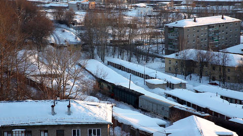 snow covered city Stock Video Footage