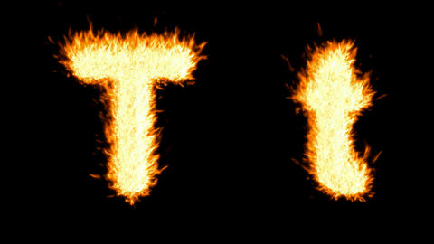 Loopable burning T character, capital and small. Alpha... Stock Video Footage
