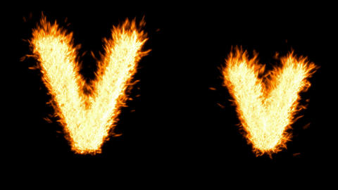 Loopable burning V character, capital and small. Alpha... Stock Video Footage