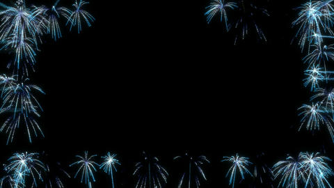 Loopable Blue Fireworks Frame over black. Alpha channel is included Animation