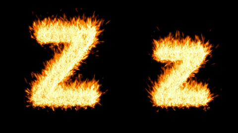 Loopable burning Z character, capital and small. Alpha... Stock Video Footage