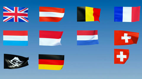 Western Europe Flags. Alpha channel is included Animation