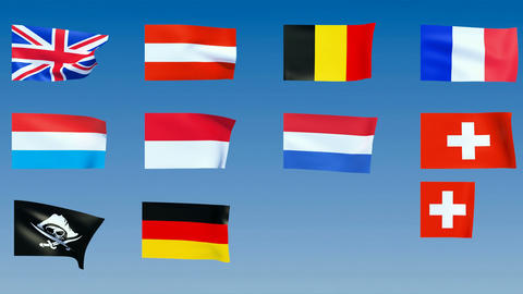 Western Europe Flags. Alpha channel is included Stock Video Footage