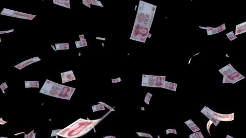 Money RMB L cm with alpha Stock Video Footage