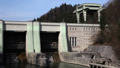 Panoramic shot of hydro electric power station Live Action